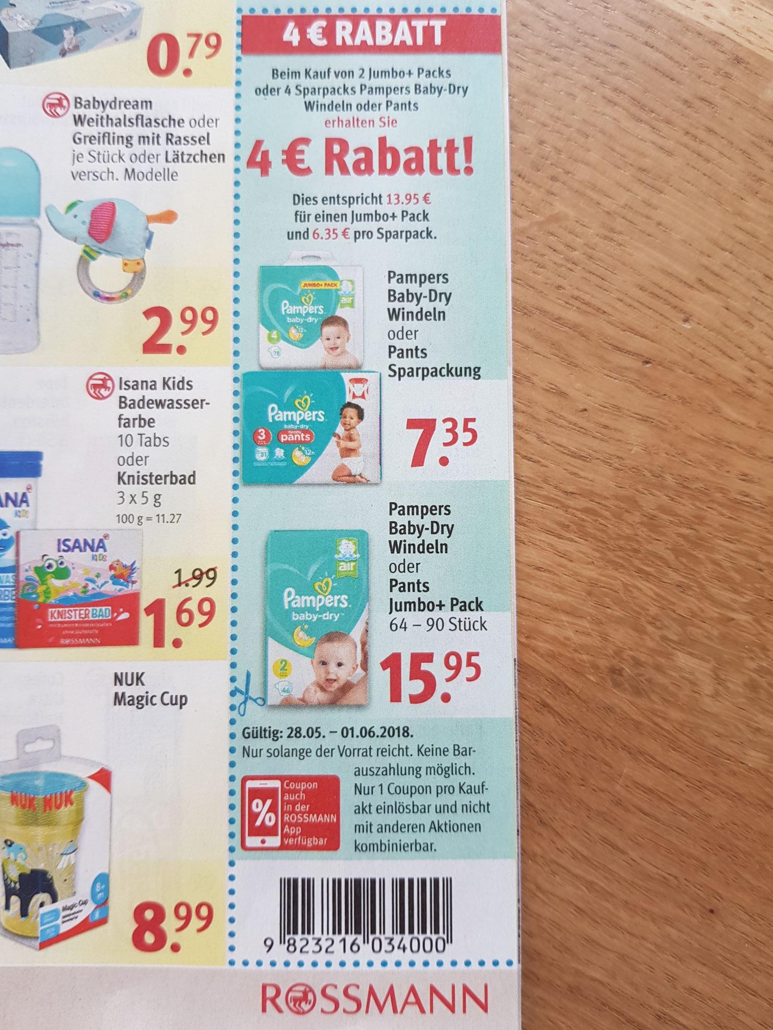 4 EURO Coupon von Rossmann beim Kauf von 2 Jumbo+ Packs bzw. 4 Sparpacks mit 10% Gutschein kombinierbar