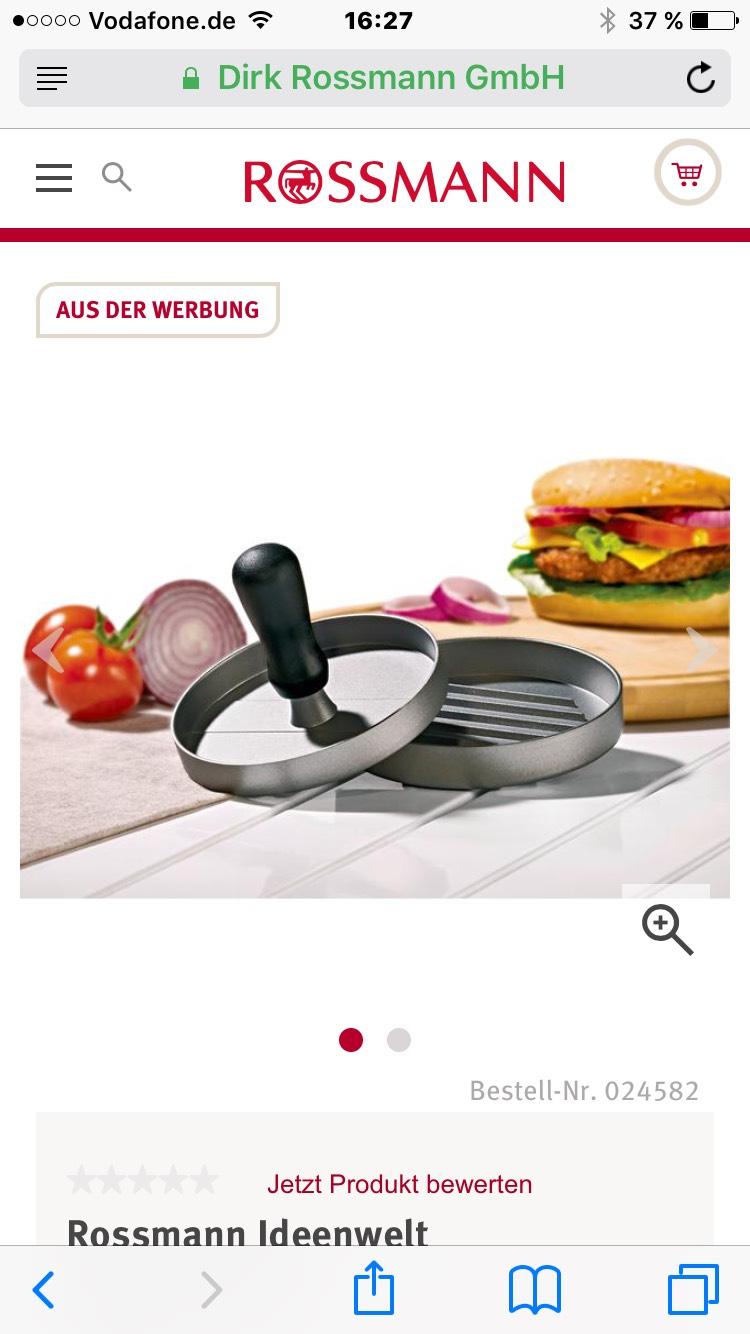 Burgerpresse aus Aluminium bei Rossmann