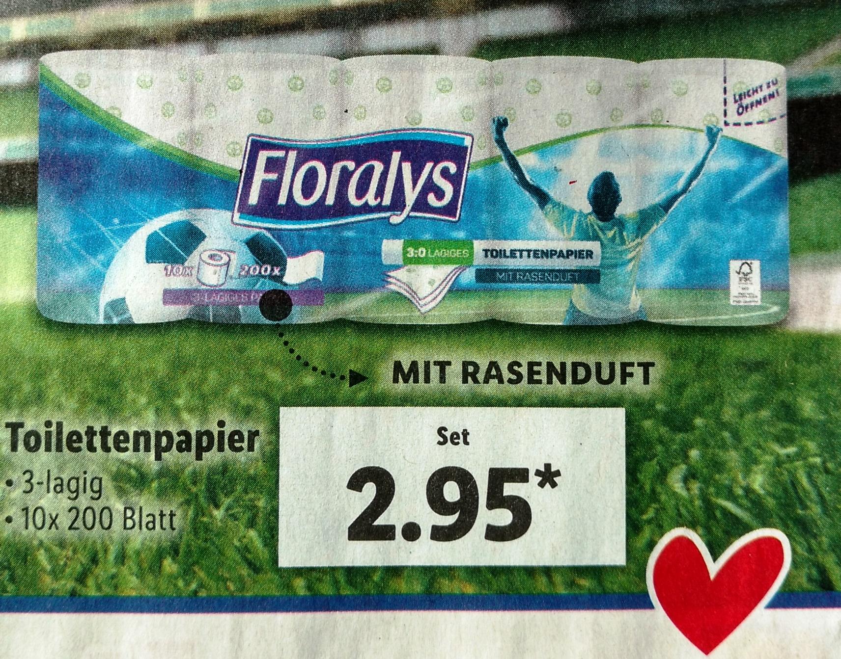 [Lidl] Toilettenpapier für den echten WM-Fan: mit RASENDUFT - näher am Rasen geht nicht!