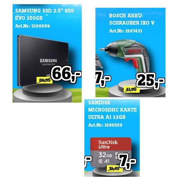 [Regional Conrad Stuttgart/Mannheim] SanDisk Ultra A1 microSD 32GB für 7,-€ // Samsung 250GB SSD 850 EVO für 66,-€ // Bosch IXO V Akkuschrauber für 25,-€