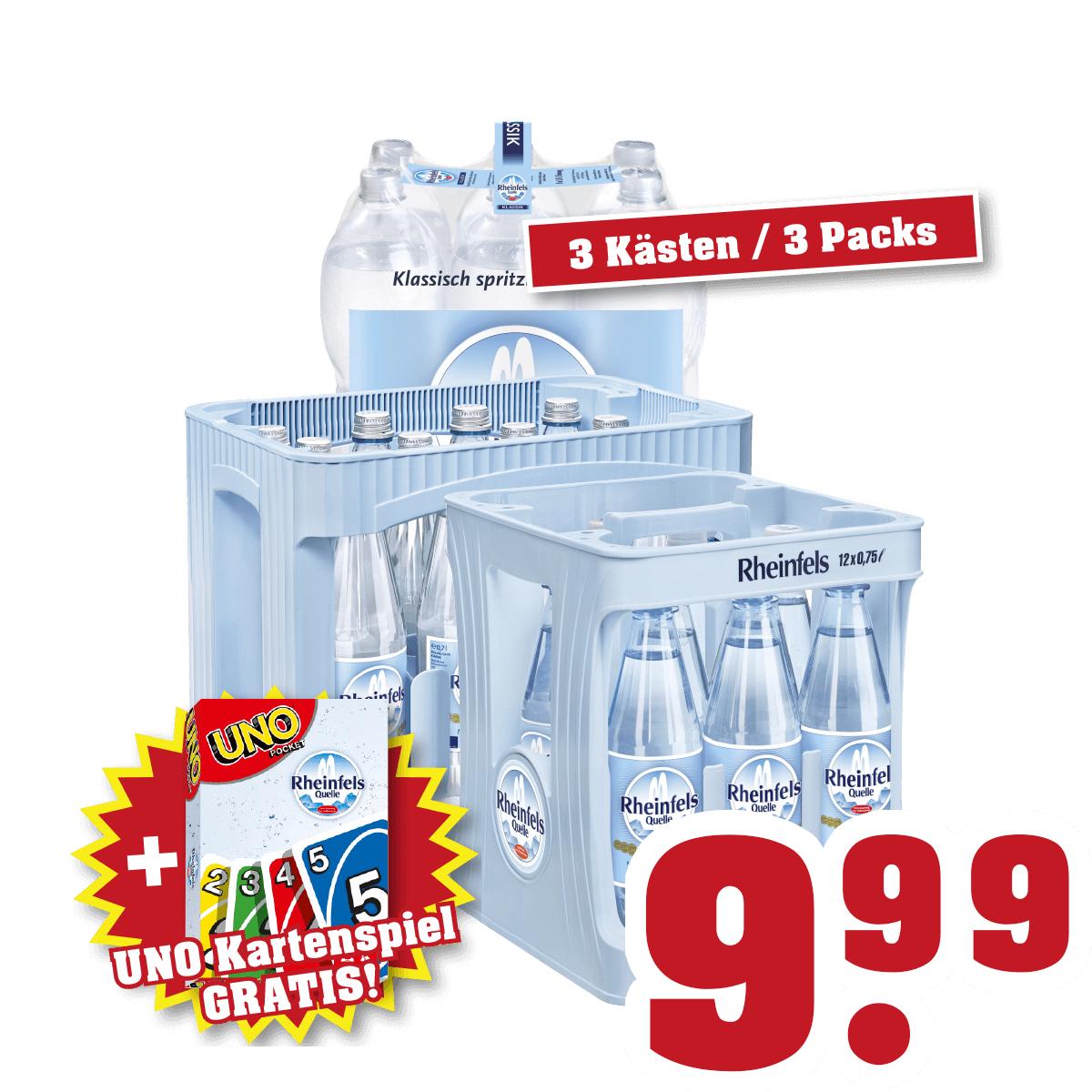 [Trinkgut] Gratis UNO Kartenspiel beim Kauf von 3 Kästen Rheinfels Mineralwasser