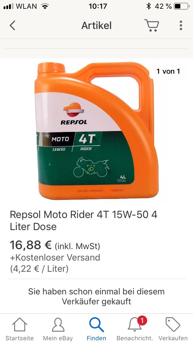 Repsol Moto Rider 4T 15W-50 4 Liter Dose Motorrad Öl Motoröl