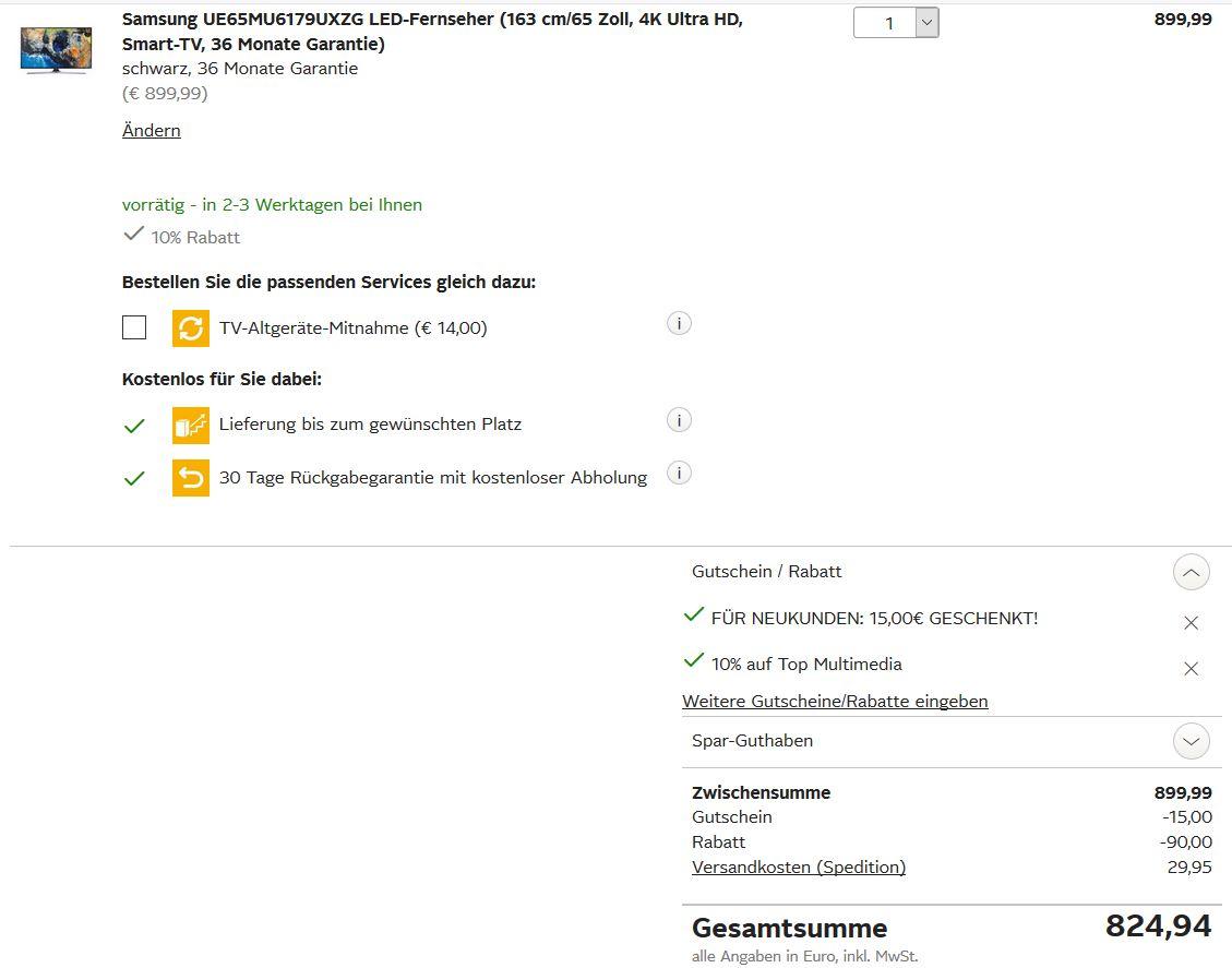 [Otto] Samsung TV 65 Zoll UE65MU6179 mit 36 Monate Garantie [nur heute][evtl. auch f. Bestandskunden ansonsten 827,94]