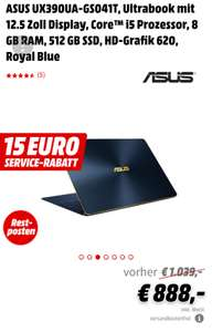 ASUS UX390UA-GS041T, Ultrabook mit 12.5 Zoll Display, Core™ i5 Prozessor, 8 GB RAM, 512 GB SSD, HD-Grafik 620, Royal Blue