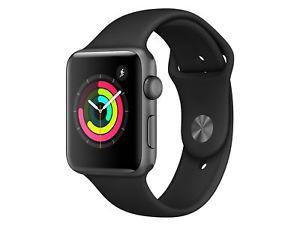 Apple Watch Series 3, 42mm GPS, Aluminiumgehäuse space grau, Sportarmband schwarz