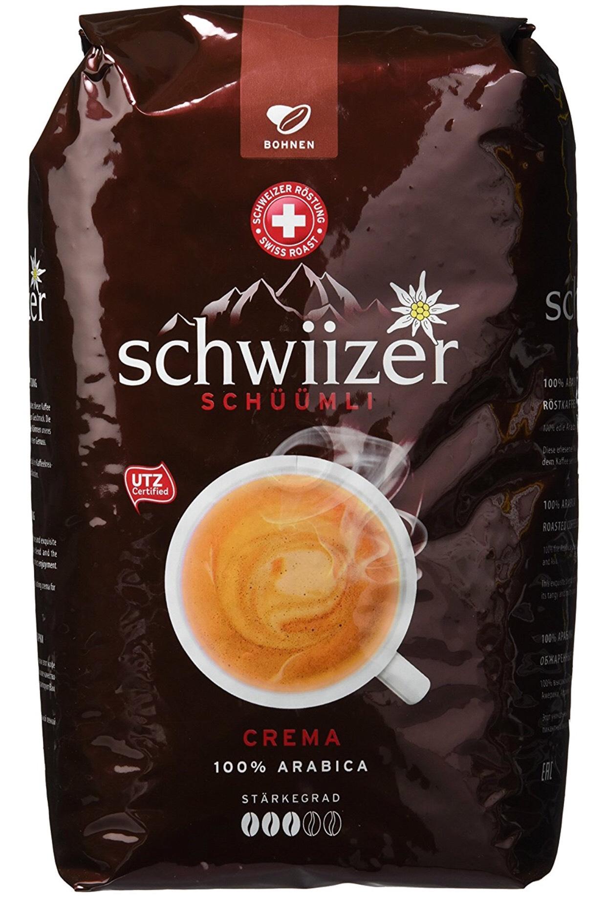 Schwiizer Schüümli Crema Ganze Kaffeebohnen 4 x 1kg) 8,75 eur/kg