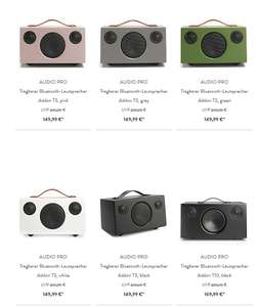 Audio Pro T10.  T3 und T5 sind ebenfalls erhalten