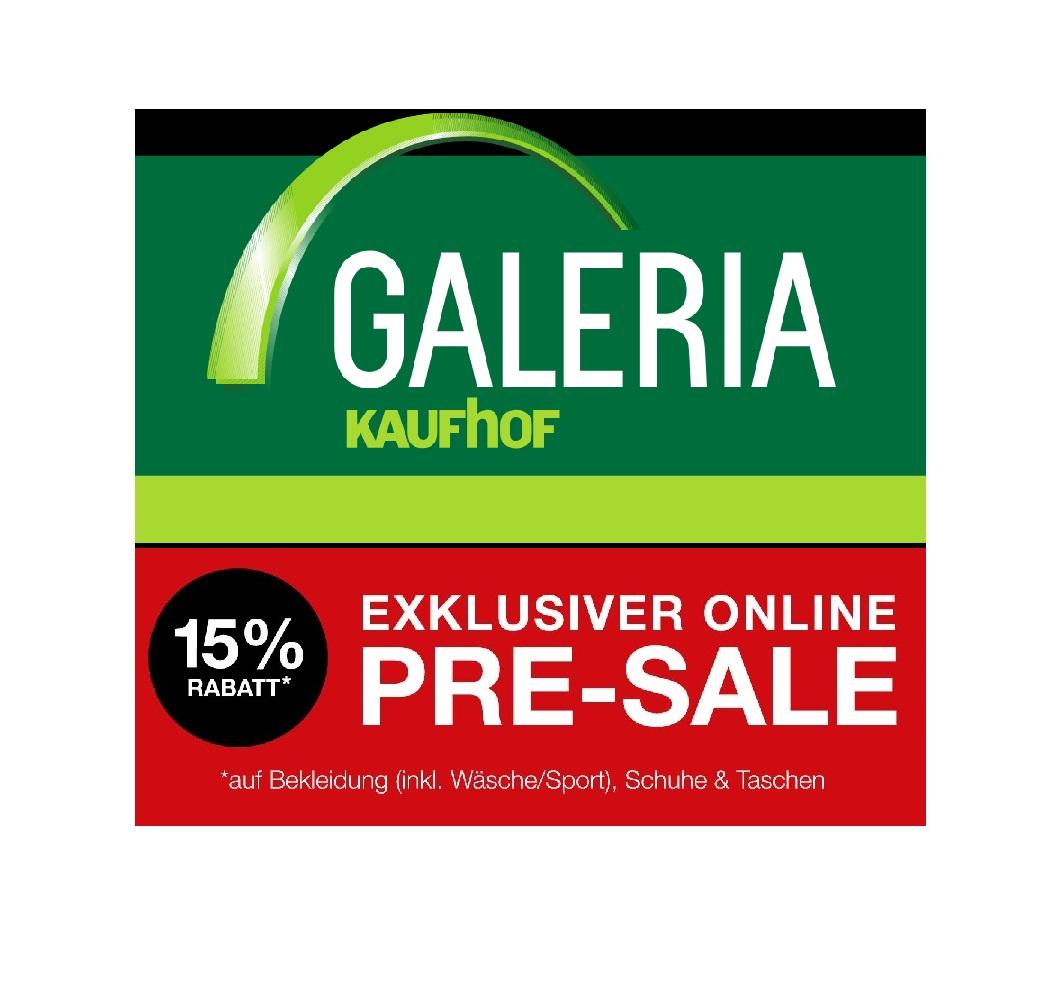 Galeria Kaufhof: Pre-Sale mit 15% Rabatt auf Bekleidung!