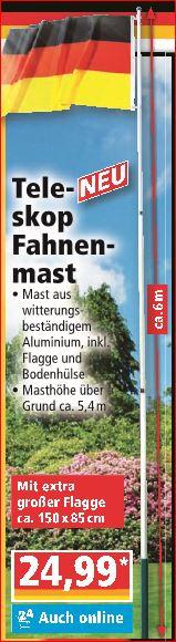 Fahnenmast ca. 6m (Aluminium) mit, Deutschlandfahne für  24,99 Euro [Norma]