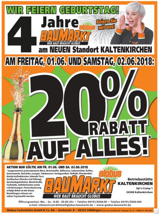 """Globus Baumarkt 20% auf """"alles"""" am 01. & 02.06. (lokal Kaltenkirchen)"""