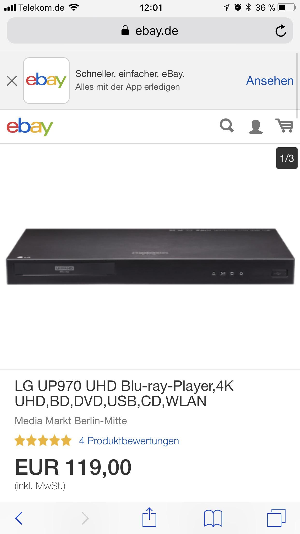 LG UP 970 4K Player