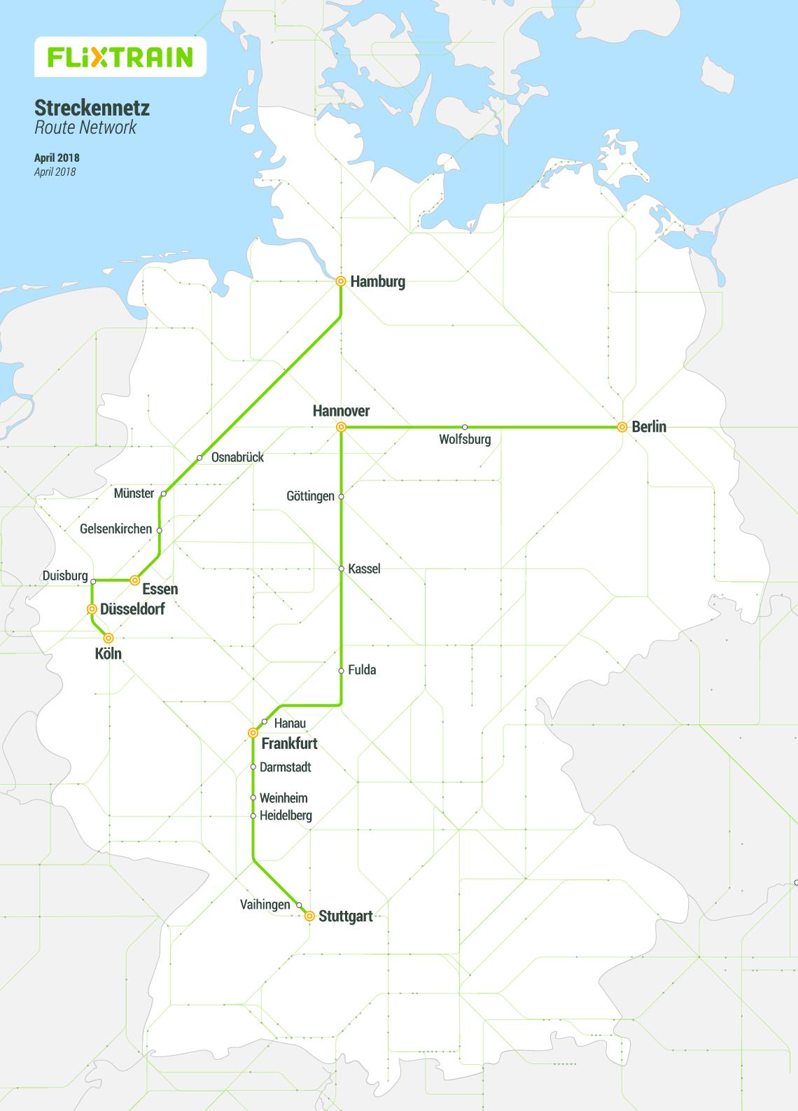 Flixtrain Tickets für 9,99 € wieder verfügbar, z.B. Stuttgart - Berlin, Hamburg - Düsseldorf