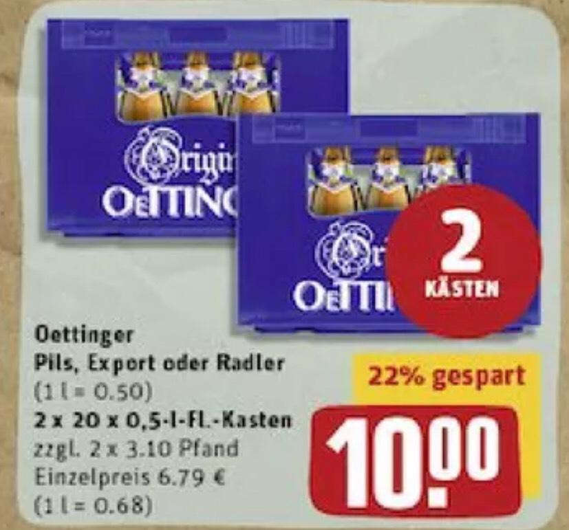2 Kästen Oettinger 40 x 0,5l Pils/Export/Radler 10€ [Rewe]