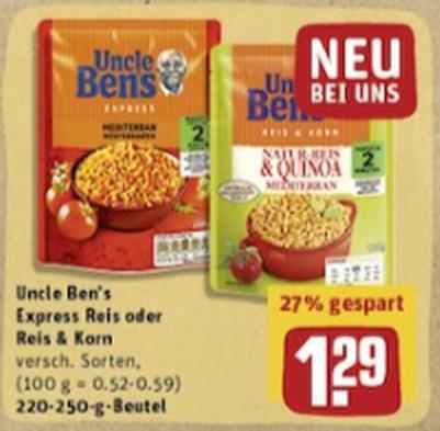 """Uncle Ben's """"Reis & Korn"""" 220-250g für 0,29€ bundesweit bei Rewe (Angebot+Coupon)"""