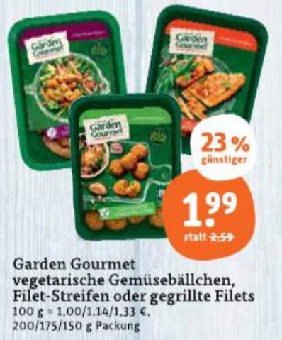 [Tegut] Garden Gourmet vegetarische Gemüsebällchen, Filet-Streifen oder gegrillte Filets für 0,99€ (Angebot+Scondoo) bis 31.05.