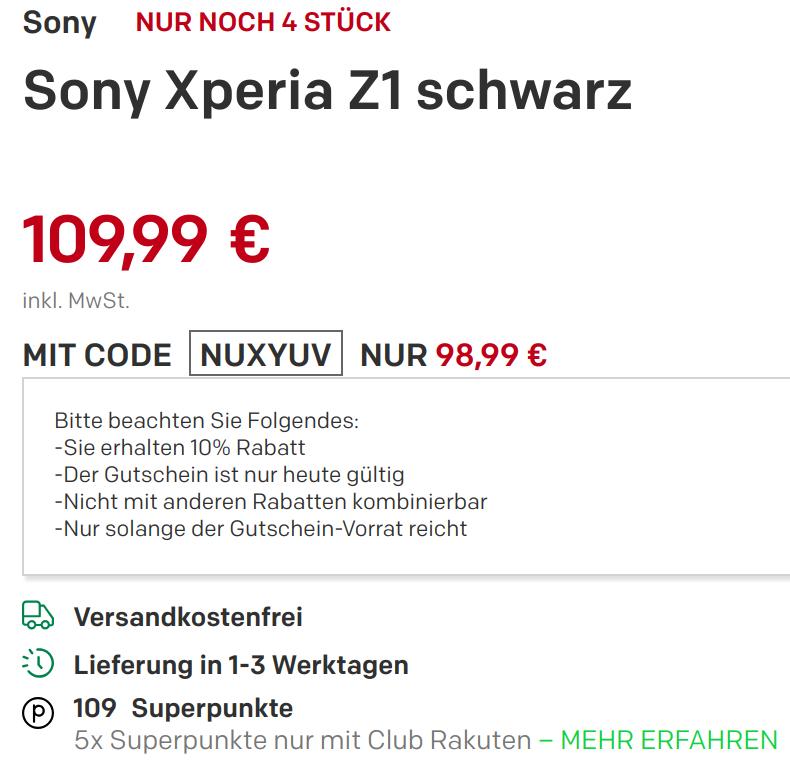 [Rakuten] Sony Xperia Z1 für 99 Euro mit Gutschein NUXYUV