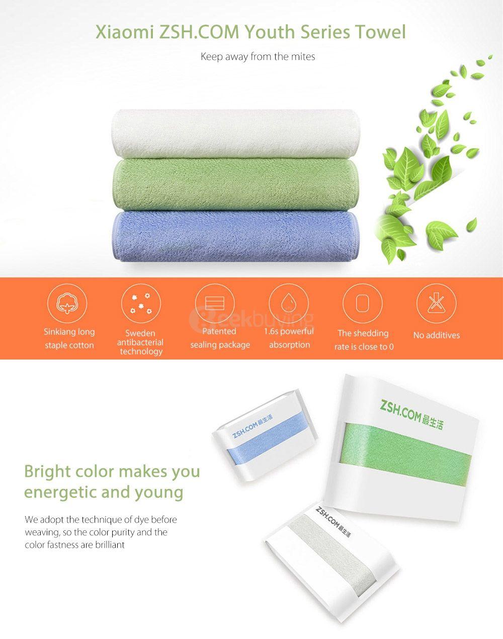 Xiaomi ZHS Youth Series - 34 x 76cm Handtuch in fast allen Farben für 3,30€ bei Zapals und 3,43€ bei Gearbest