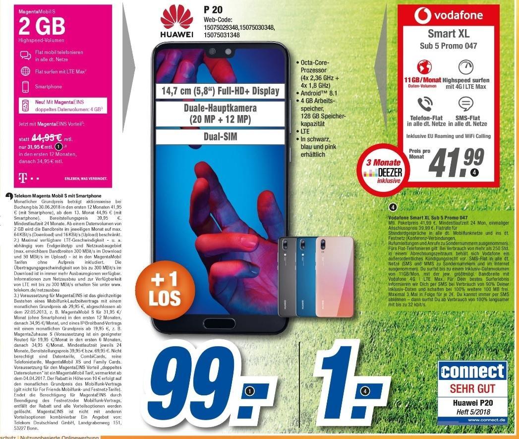 [ lokal Coburg / Meiningen / Neustadt ] Huawei P20 Dual-SIM + Vodafone Smart XL 11GB LTE Allnet für effektiv 24,19€ monatlich