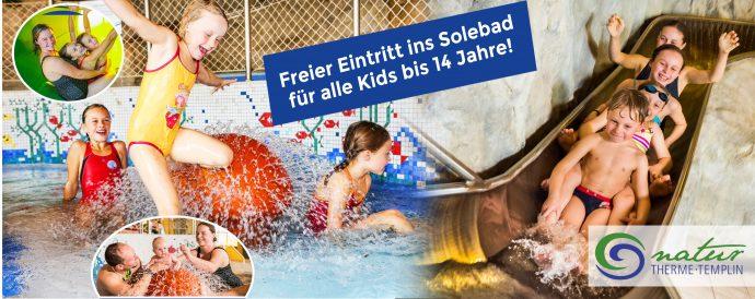 Freier Eintritt für alle Kids bis 14 Jahre ins Solebad Templin (Kindertag)
