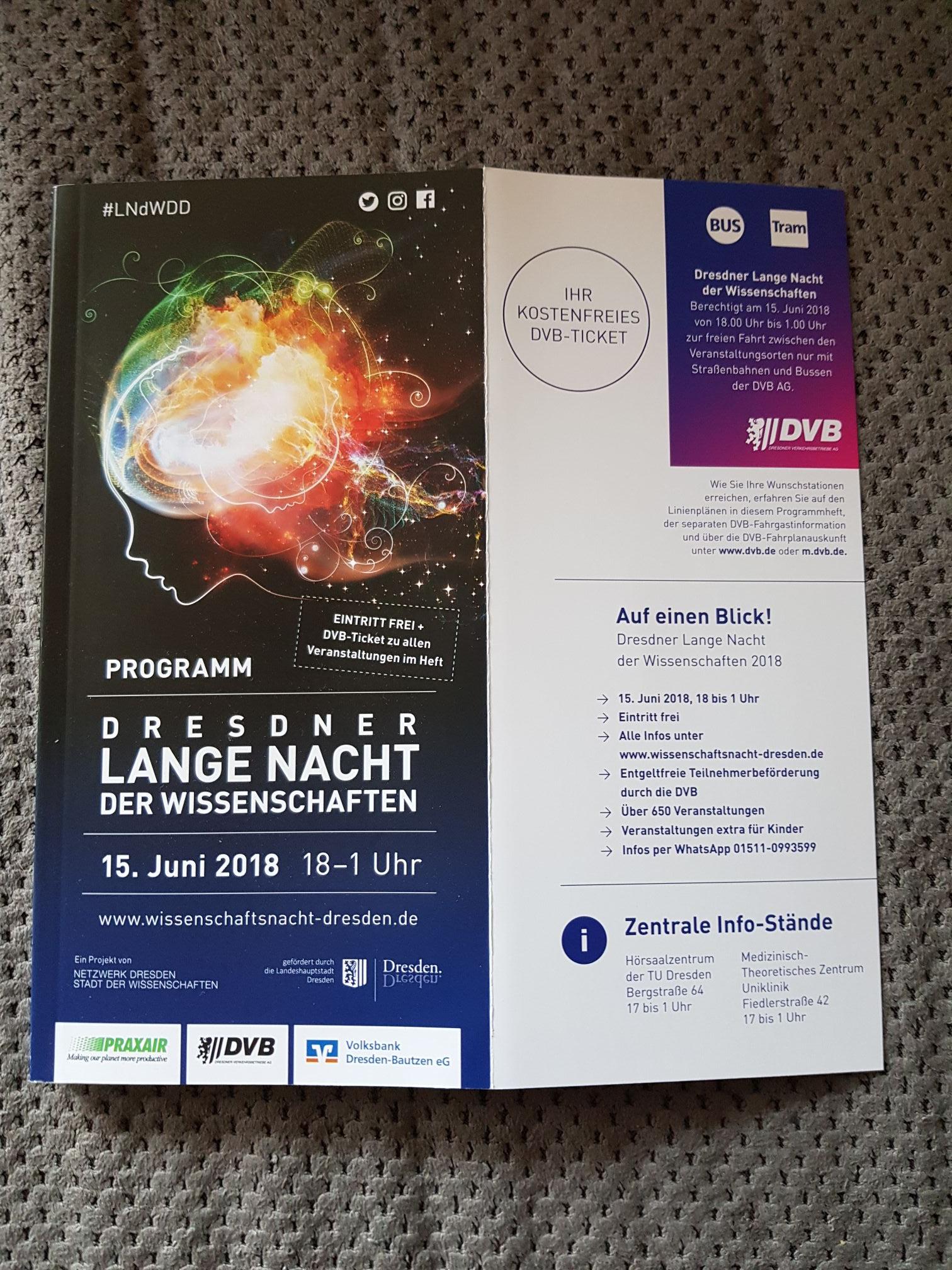Lange Nacht der Wissenschaft Dresden Freie Fahrt mit der DVB 15. Juni