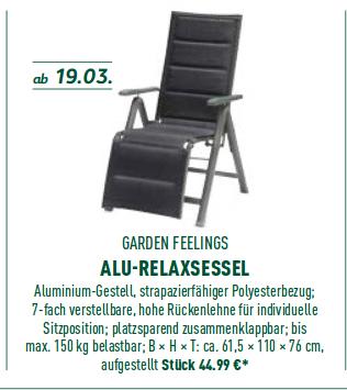 [Aldi Nord] Alu-Klappstuhl & Alu-Relexsessel für 25€