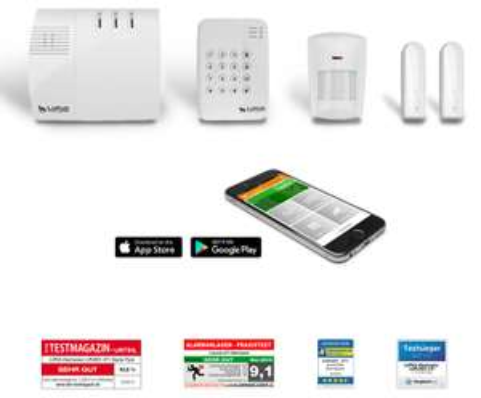 [csv] LUPUSEC XT1 Smarthome Funk-Alarmanlage, Starter Pack mit Funk Bewegungsmelder, 2 Türkontakten und Keypad, Einbruchmeldeanlage, fernsteuerbar via Browser, Tablet oder Smartphone, IP-Kameras integrierbar, Wachschutz aufschaltbar