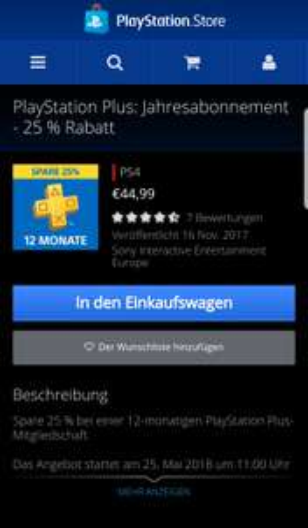Playstation Plus 12 Monate und 3 Monate im Playstation Store (25% reduziert)