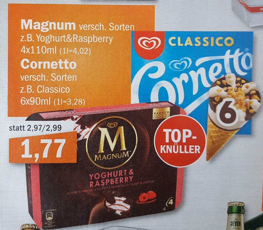 LOKAL - Oldenburg und umzu / aktiv irma (ab 30.05.): Cornetto 6er-Pack oder Magnum 4er-Pack für nur 1,77 Euro.
