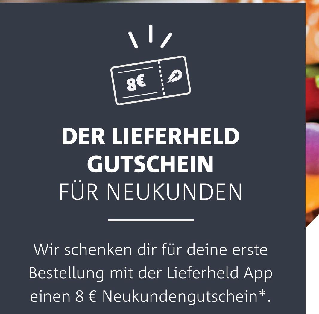 [Lieferheld] 8€ Gutschein mit 12€ MBW für Neukunden