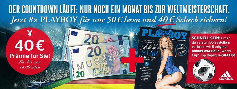 8 Playboy Ausgaben für 50€ + 40€ Verrechnungscheck
