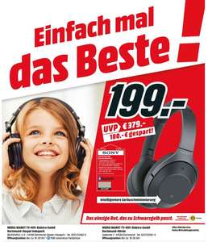 [Regional Mediamarkt Dortmund] SONY WH-1000XM2, Over-ear Kopfhörer, Near Field Communication, Headsetfunktion, Bluetooth, Gold oder Schwarz für je 199,-€