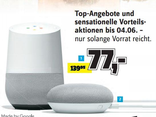 [Regional Conrad Berlin Schöneberg und Kreuzberg ab 31.05] Google Home Smart-Speaker Sprachsteuerung WLAN für 77,-€ zusätzlich Aktion 50,-€ Geschenkkarte für 40,-€