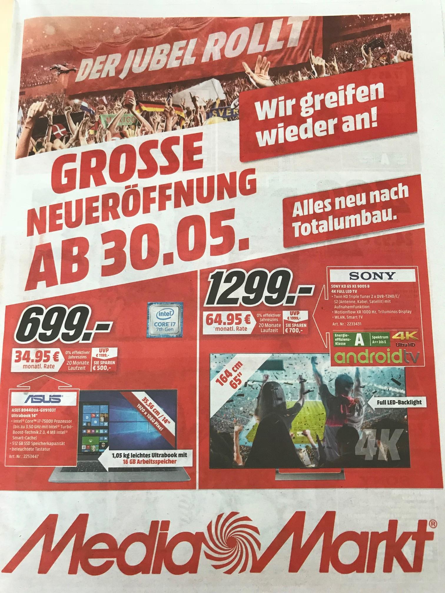 (lokal Köln) Media Markt Köln Chorweiler - Wiedereröffnung - Sony KD 65 XE 9005 1299 - LG 55 UK 6100 499€ - Sony 55 XE 8096 599€ - Philips 65 PUS 7502 999€ - Sony 75 XE 8596 1888€