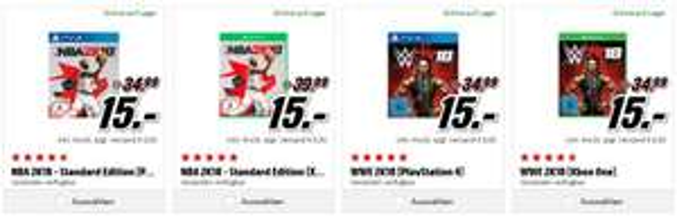 [Mediamarkt]  NBA 2K18 - Standard Edition [PlayStation 4 und Xbox One]  und  WWE 2K18 [PlayStation 4 und Xbox One] für je 15,-€
