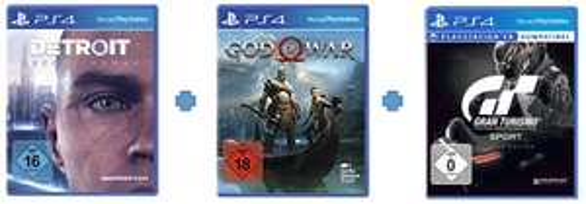 PS4 Detroit: Become Human + God of War: Day One Edition + Gran Turismo Sport: Day One Edition für 100,50 € inkl. Versand [mediamarkt.de]