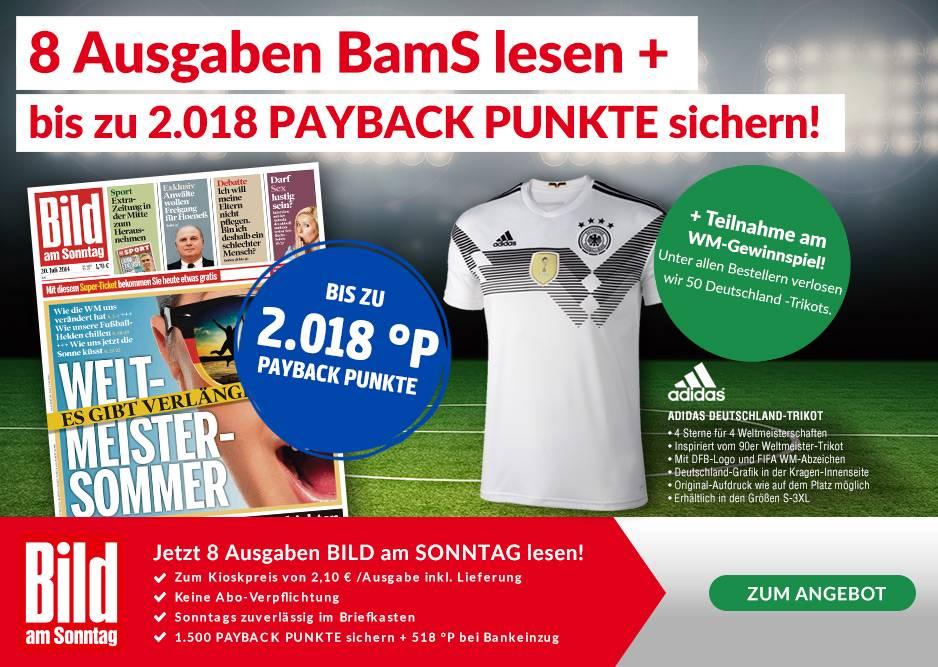 [PAYBACK + LESERSHOP24]  8 Ausgaben Bild am Sonntag für 16,80 € + 2.018 Payback Punkte (bei Bankeinzug) entspricht 20,18 €