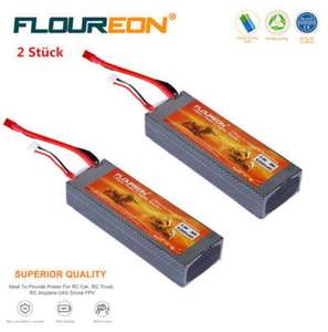 2x Floureon Lipo 2s 7.4V 5200mAh 30C Hardcase mit T-Stecker