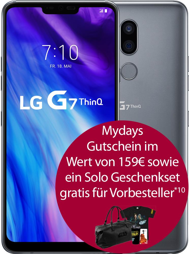 [Talkthisway.de] LG G7 vorbestellen (einm. 29€) mit Vodafone Smart 5GB LTE (36.99€) und Allnet Flat + VorbestellerBonus: SOLO Geschenkset mit 159€ Mydays Gutschein