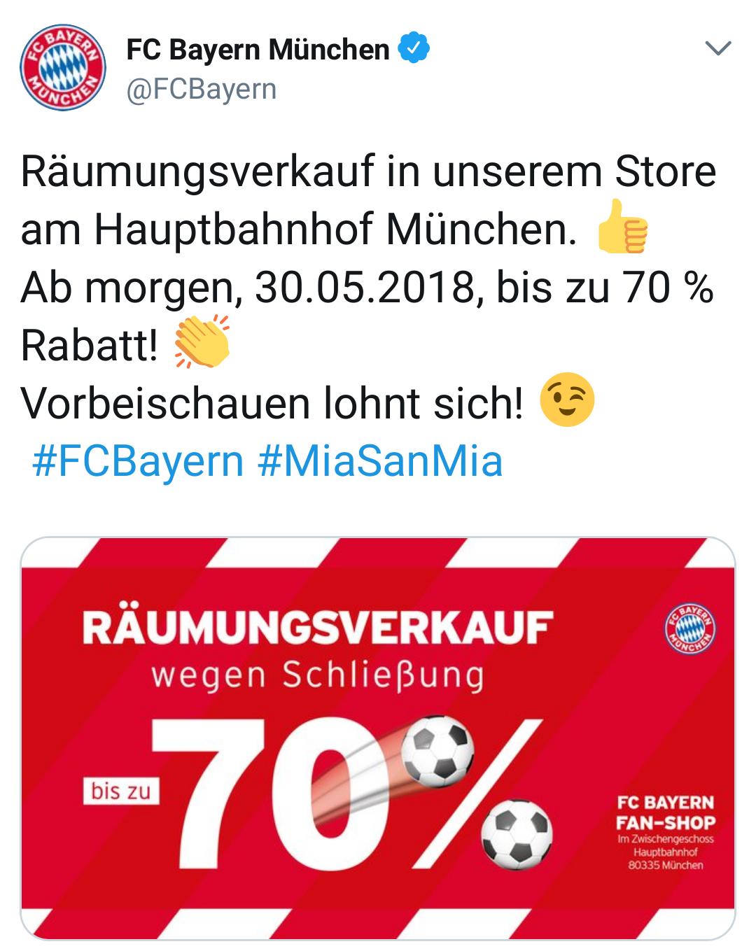 Bis zu 70% Rabatt im FC Bayern München Shop im Münchener Bahnhof