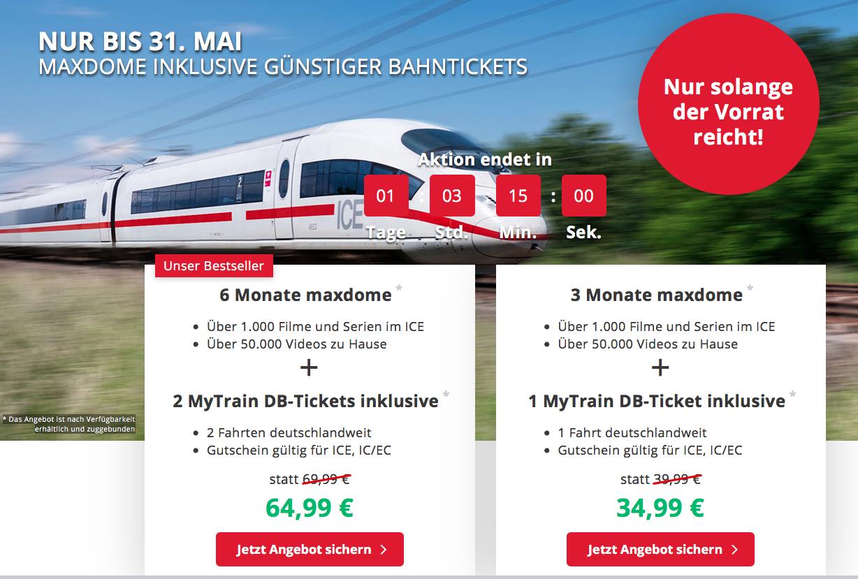 Günstige Bahntickets für verschiedene Strecken quer durch Deutschland + 6 Monate Maxdome inklusive