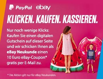 [Gutscheinfehler] 10€ Ebay Coupon von Paypal für Ebay Neukunden und Bestandskunden! beim Kauf eines digitalen Gutscheins