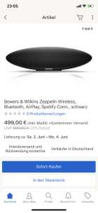 Bowers and Wilkins Zeppelin Bluetooth Lautsprecher