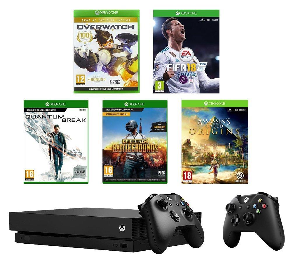 Xbox One X + 2. Xbox Controller + FIFA 18 + PlayerUnknown's Battlegrounds + Overwatch + Quantum Break + Assassin's Creed Origins für 515,28€ (Amazon.co.uk)