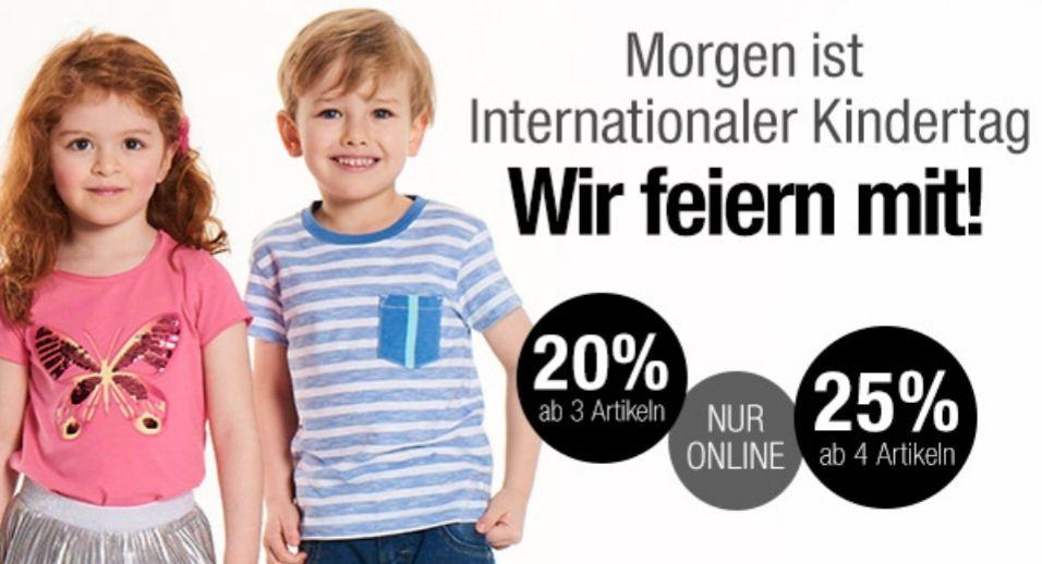 20 bzw. 25% auf Kinderkleidung beim Kauf vom 3 bzw. 4 Artikeln am Freitag [Galeria Kaufhof].