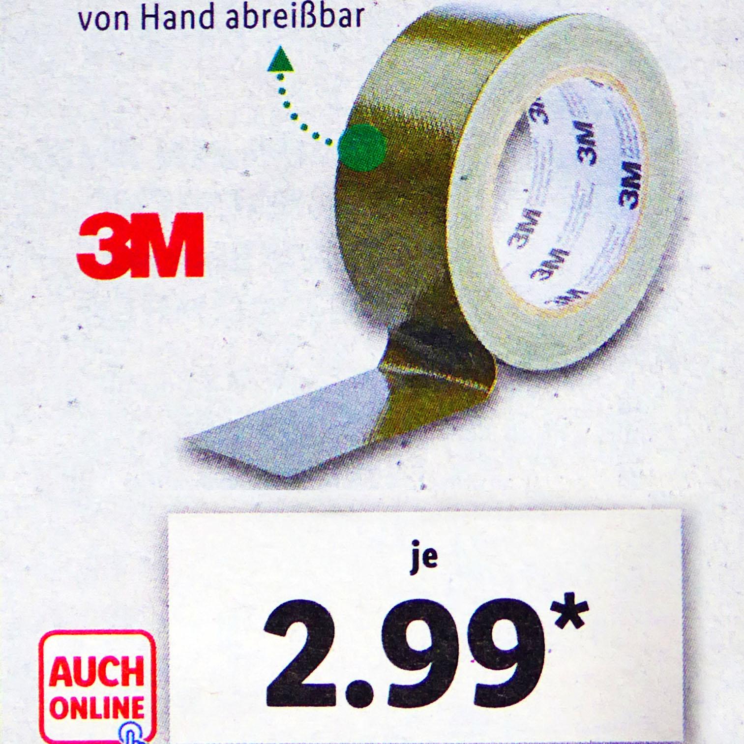 3M Allwetter-Klebeband oder 3M Outdoor Gewebe-Klebeband für nur 2,99€ bei (Lidl ab 4.6.)