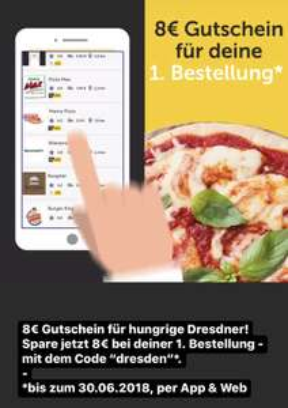 Pizza.de App Gutschein 8€/MBW 12€ (Neukunden) LOKAL DRESDEN?