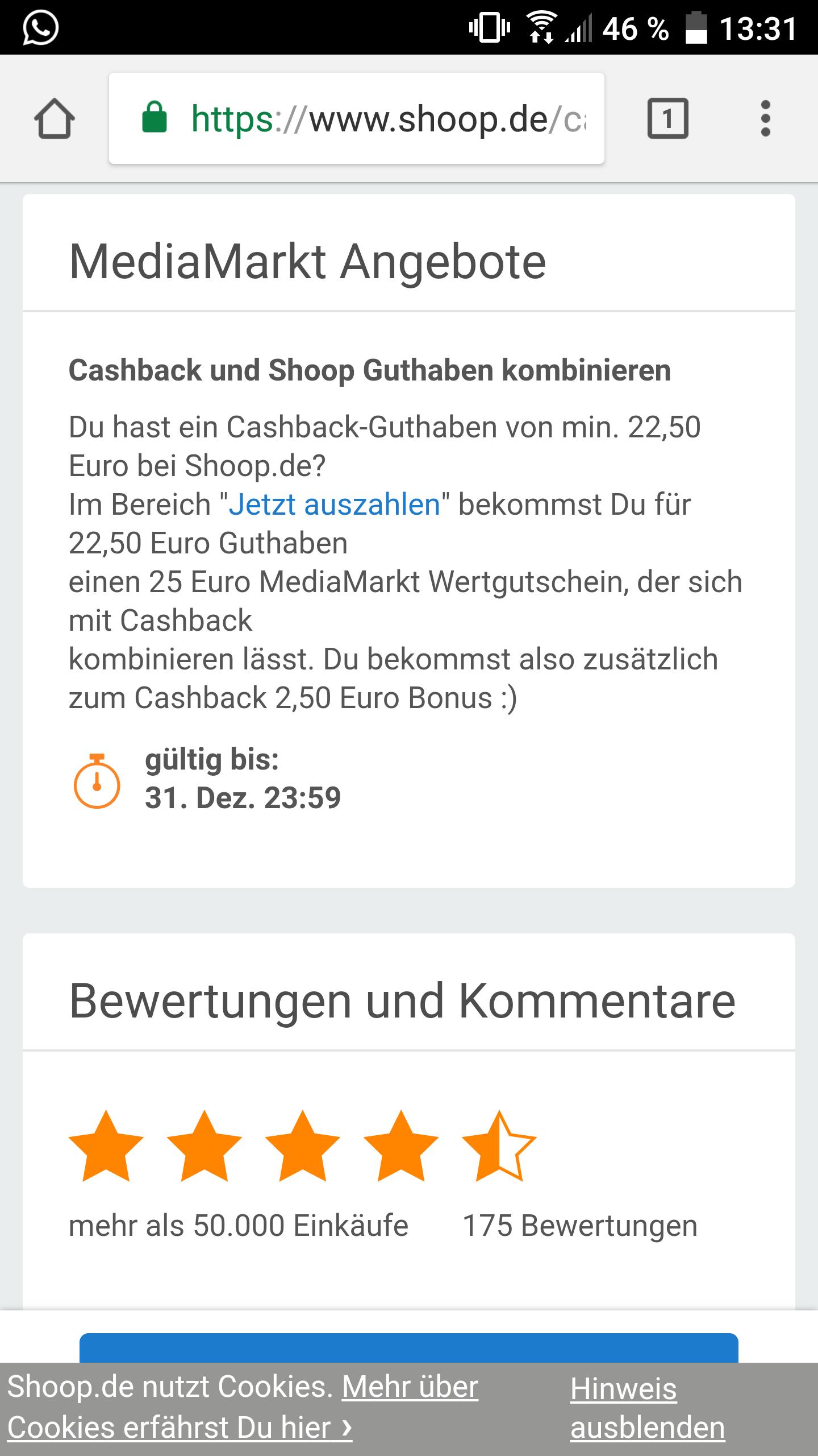 Shoop: 25€ Media Markt Gutschein + 2.50€ erhalten für 22,50€ Cashback auch Otto: 27€ für 30€ + 3€ Cashback