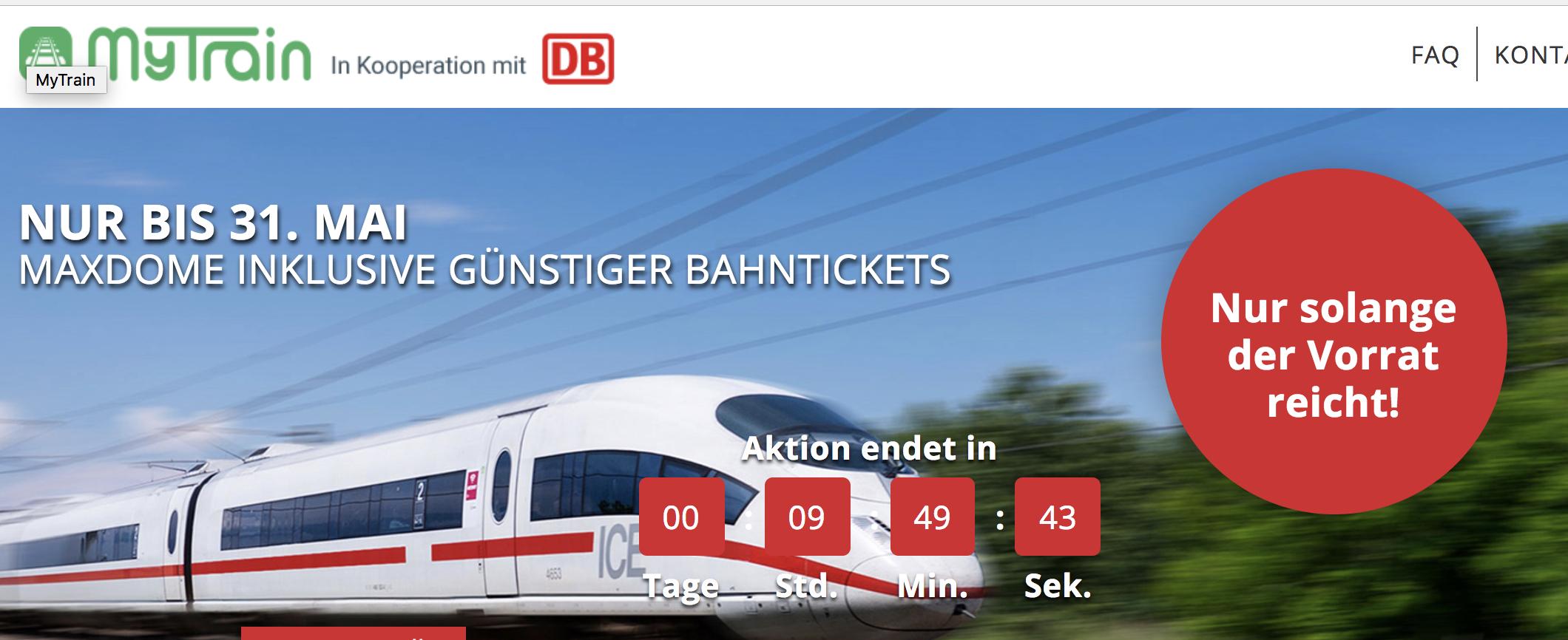 [Doppelt, aber mit ausführlichen Tipps zur Buchung] Für Spontanbahnfahrer: DB Mytrain Bahnticket, günstig flexibel ICE/IC fahren ab 32,49€/Fahrt. Nur noch heute!