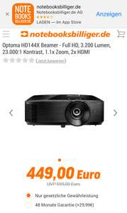 Optoma HD144X Beamer - Full HD, 3.200 Lumen, 23.000:1 Kontrast, 1.1x Zoom, 2x HDMI