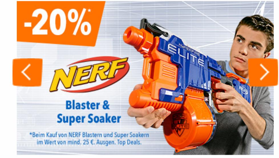 [ToysRus online] 20% Rabatt auf alle NERF Blaster oder Super Soaker im Toys'R'Us Onlineshop.Z.B. Nerf N-Strike Elite Longshot CS-6 für 42,93€